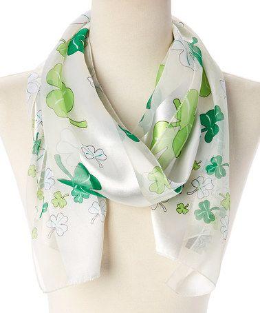 Love this Ivory & Green Shamrock Scarf on #zulily! #zulilyfinds