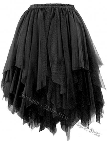Dark Star Gothic Short Black Lace Net Multi Tier Witchy Hem Mini ...