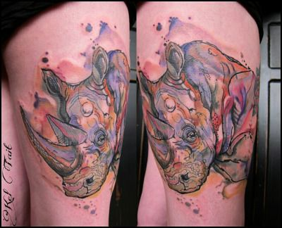 Kel Tait Tattoo Tumblr Rhino Tattoo Watercolor Tattoo Tattoos