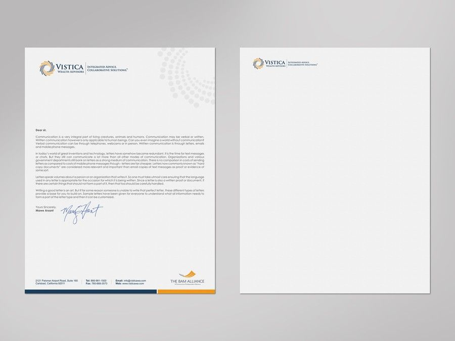 Create a professional letterhead template for a wealth advisory - professional letterhead
