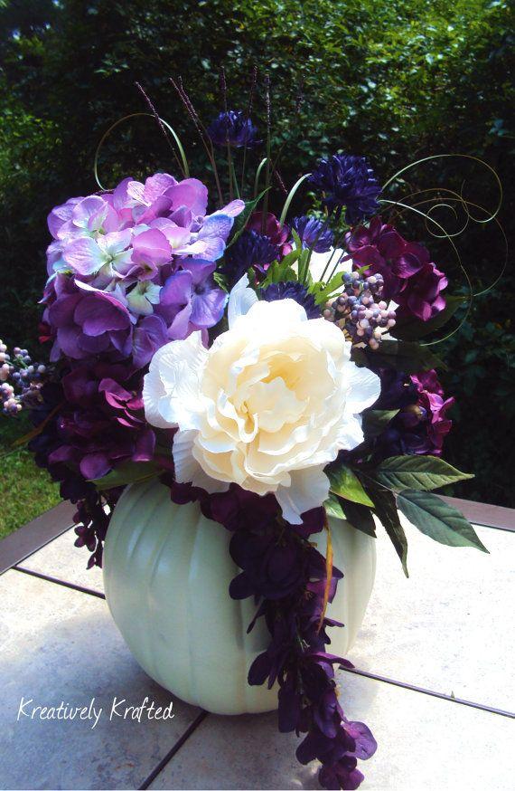 Purple Flowers For October Wedding : White cream purple plum eggplant hydrangea pumpkin