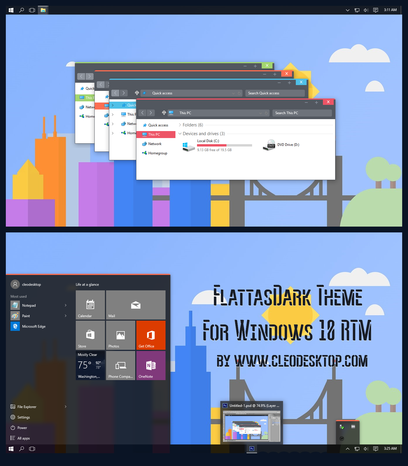 Cleodesktop Flattasdark Theme For Windows 10 Rtm Windows 10 Windows Theme
