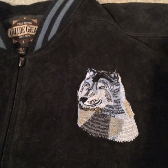 NWT! Leather Wolf Coat NWT! Beautiful genuine leather lined coat with embroidered wolf on front left chest and embroidered double wolf design on back. XL. Jackets & Coats