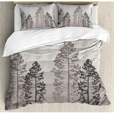East Urban Home Farmhouse Pine Trees In The Forest On Foggy Ombre