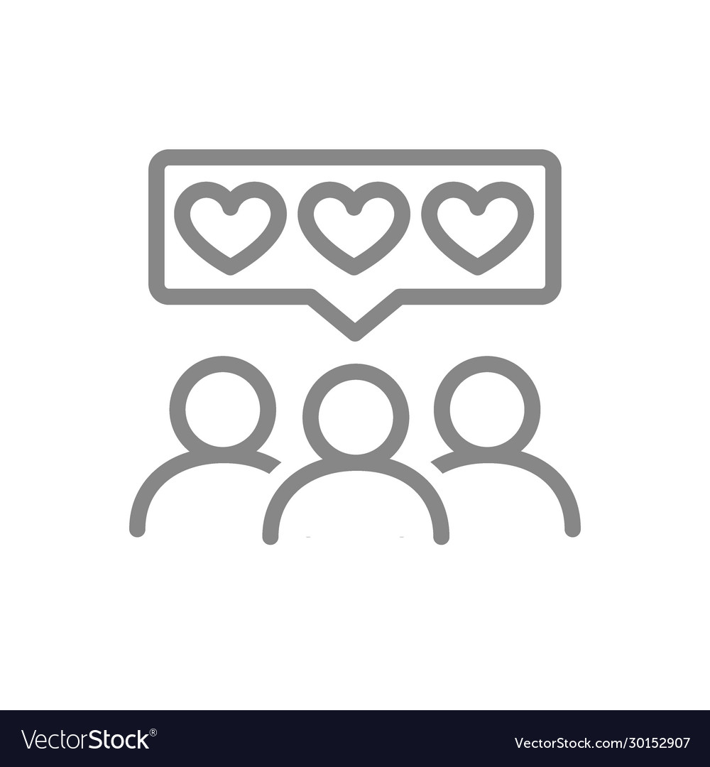 People With Hearts In Chat Bubble Line Icon Client Satisfaction Happy Customers Positive Feedback Like Symbol And Sign Ve Line Icon Lettering Alphabet Icon