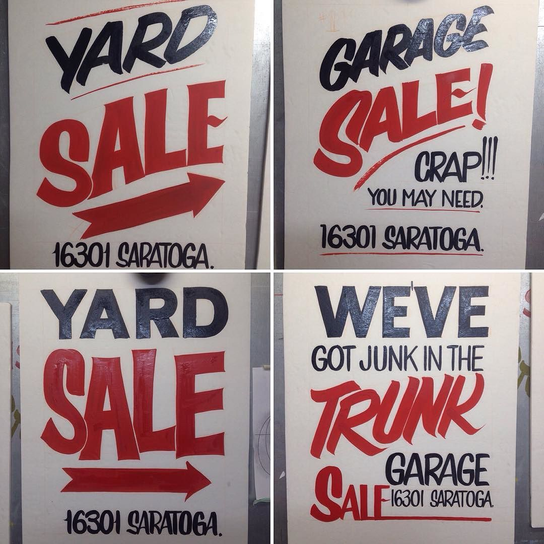 Pretty stoked on this commission. 4 hand painted garage sale signs ...
