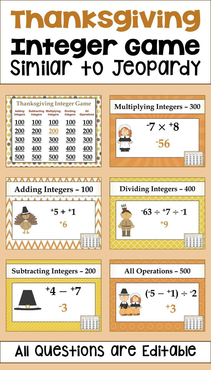 Thanksgiving Math Is Fun For Kids With This Powerpoint Integer Game For 6th 7th And 8th Grade Students The Game Is Played Sim Fraction Games Fun Math Math [ 1288 x 736 Pixel ]