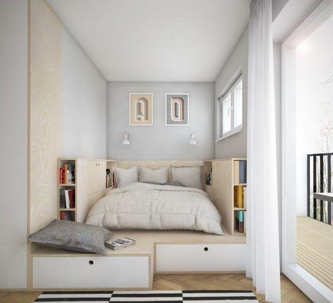 Podest Mit Stauraum Kleines Schlafzimmer Einrichten Schlafzimmer Einrichten Kleines Schlafzimmer