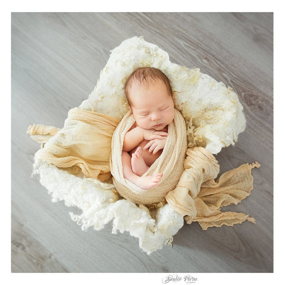 Curly felted wool layer newborn photo props basket stuffer vintage style ivory white natural woolen blanket