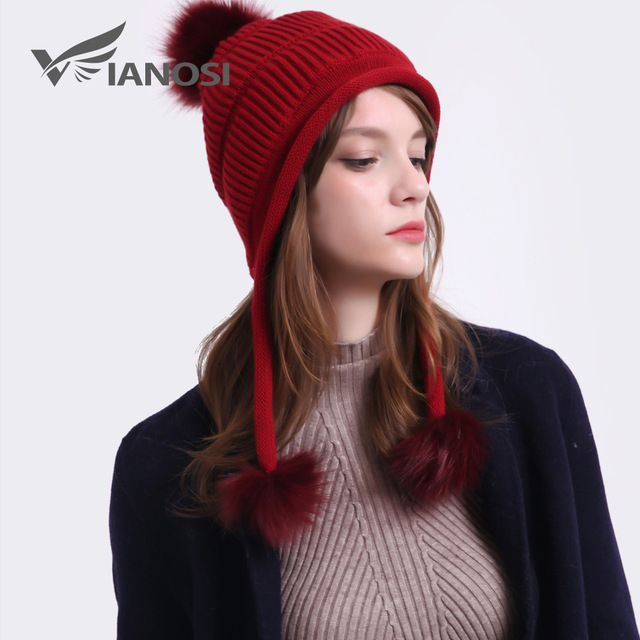 c311dbd15ab8 VIANOSI Cotton Caps Women Solid Knitted Winter Hats Pompom Protect ...