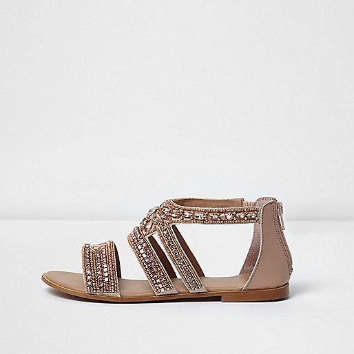 Rose gold embellished multi strap sandals - Shoes & Boots - Sale - women. River  Island ...
