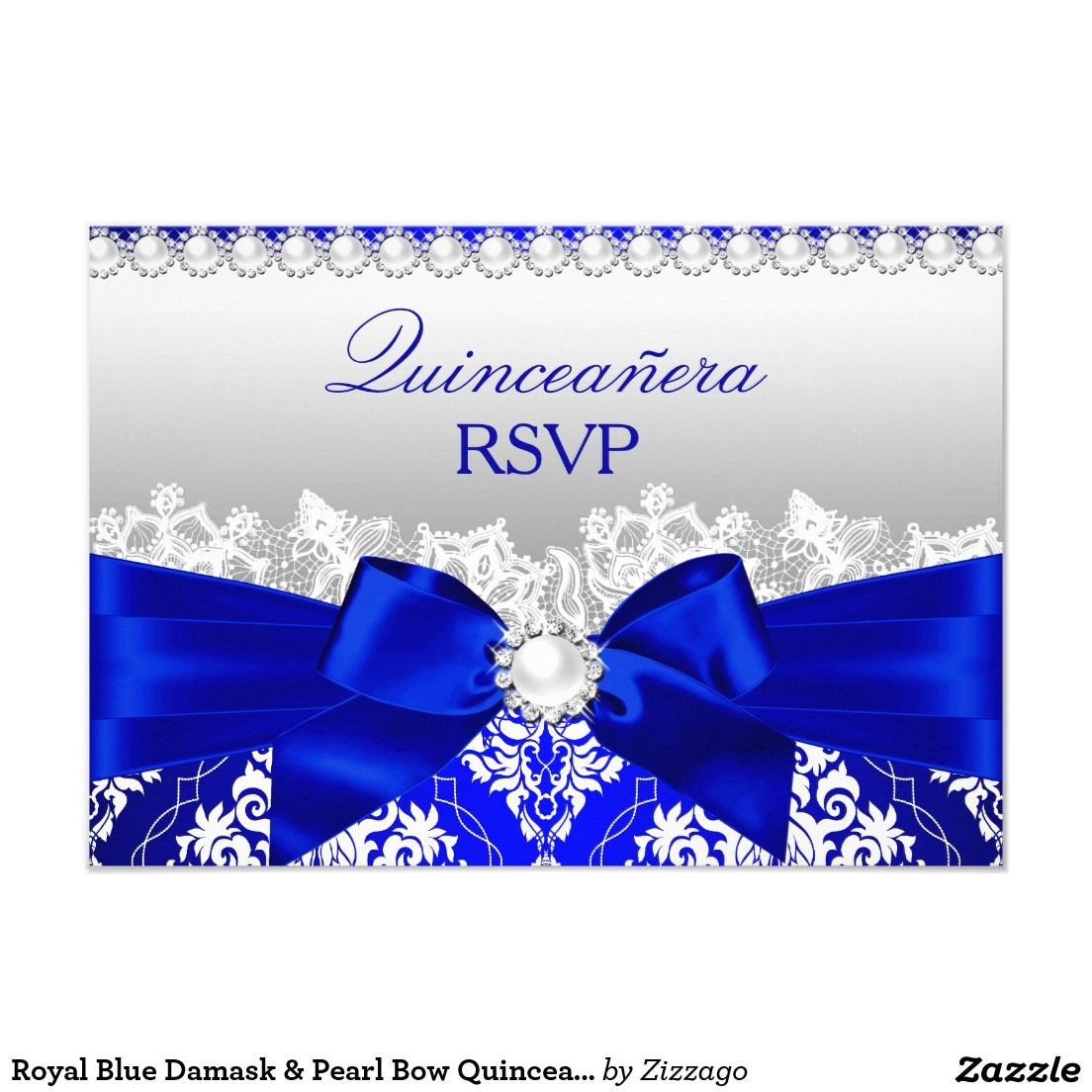 Royal Blue Damask Pearl Bow Quinceanera RSVP Invitation
