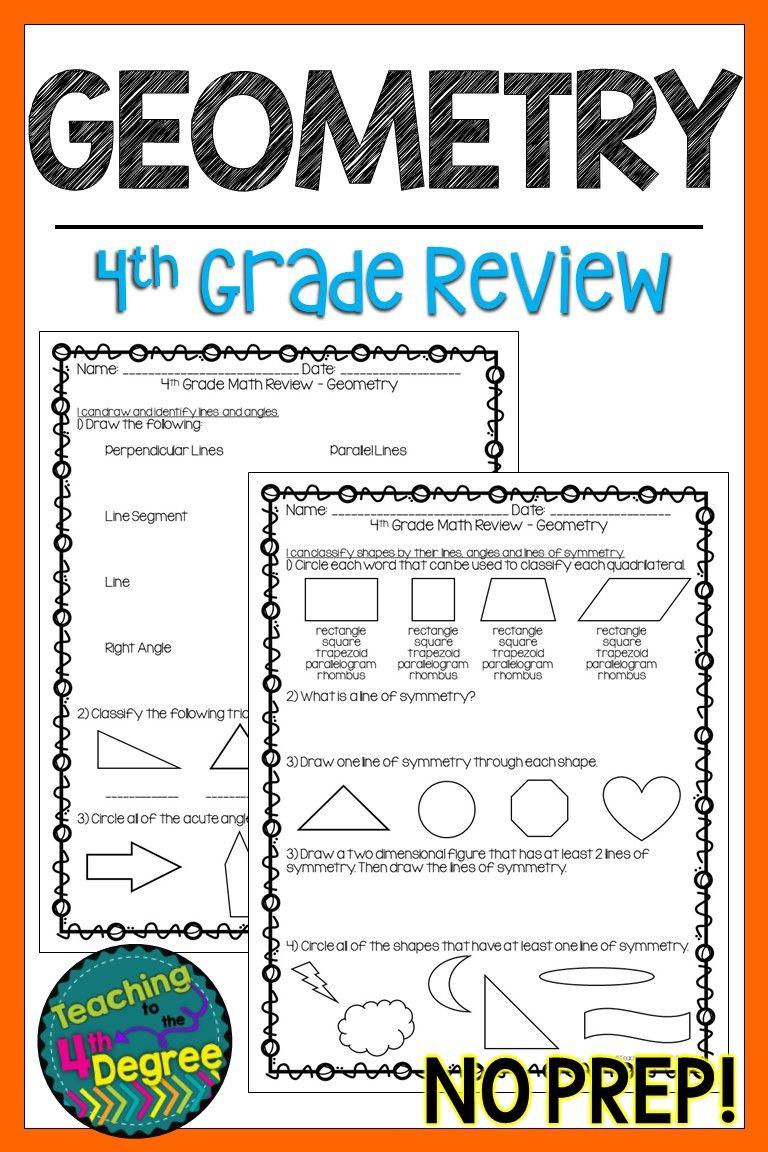 4th Grade Geometry Review Math assessment, Symmetry