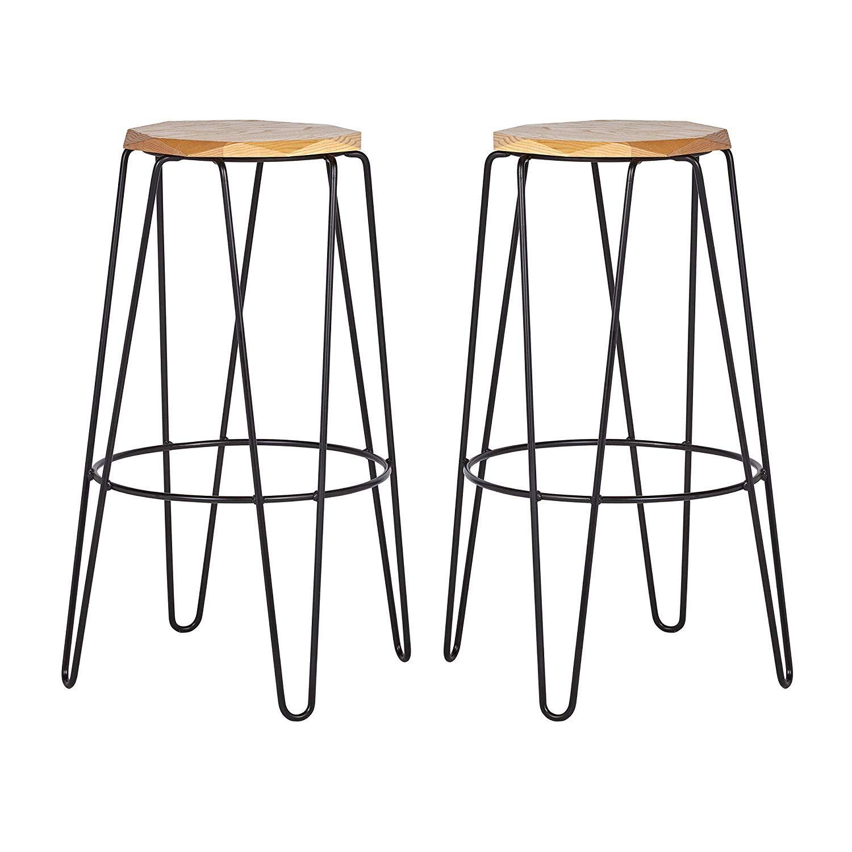 Marvelous Rivet Dayton Mid Century Modern Metal Bar Stool 24H Pack Inzonedesignstudio Interior Chair Design Inzonedesignstudiocom