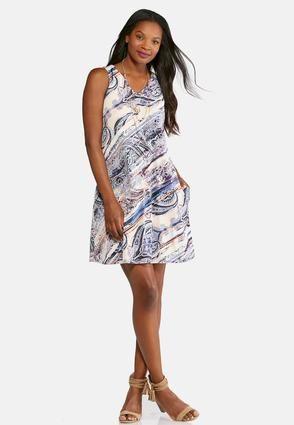 Cato Fashions Plus Size Brushed Mixed Paisley Dress Catofashions