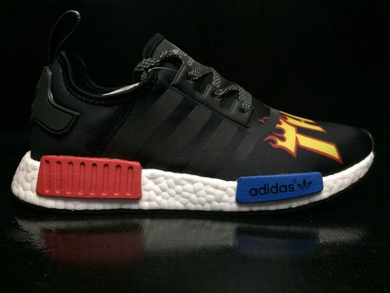 5a8690b02 2018 Official Unisex Thrasher X Adidas NMD R1 Black Red Blue BA7526 Shoe