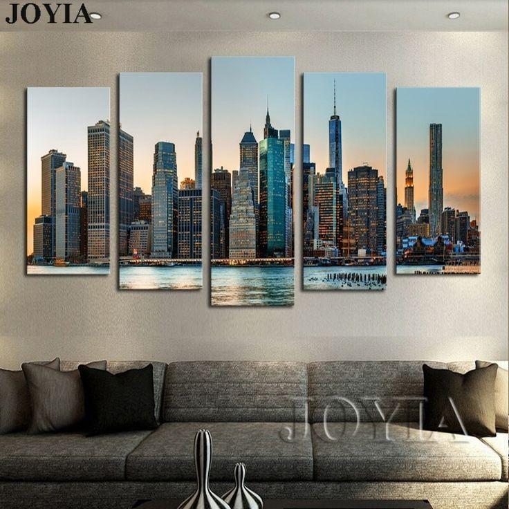 5 panel wall art canvas manhattan city new york decor wall