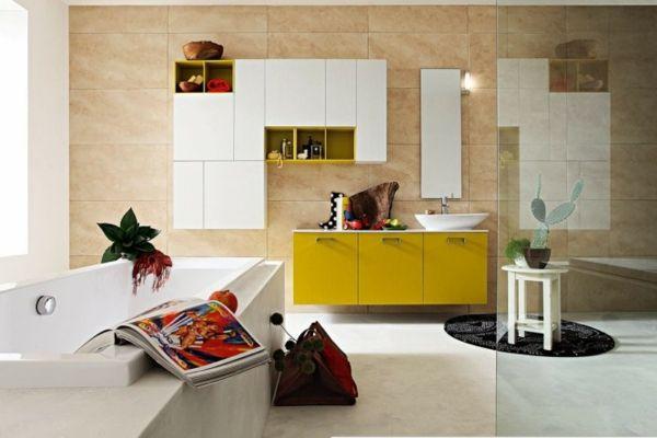 Schrank Badezimmer ~ Badezimmer viele farben schrank in gelb modernes bad u