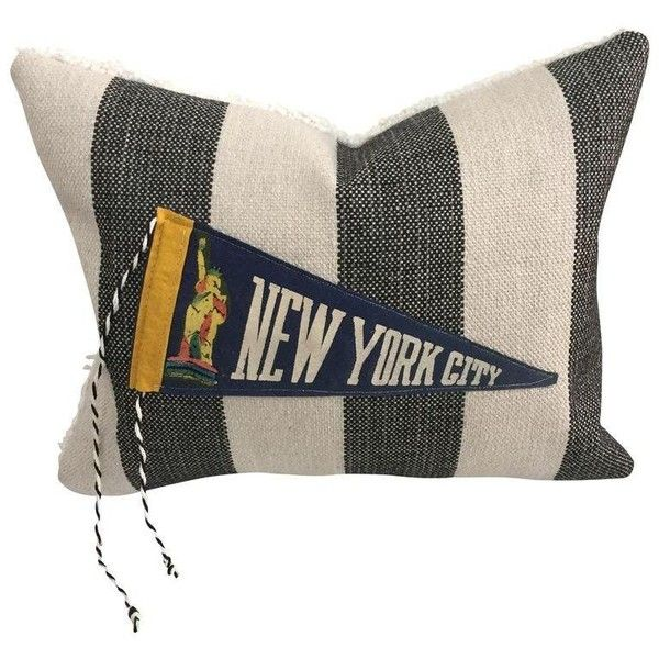 """""""Hit the Road!"""" Vintage Travel Pennant Pillow (4,095 PHP) ❤ liked on Polyvore featuring home, home decor, throw pillows, pillows, vintage home decor, black and white accent pillows, black and white striped throw pillow, stripe throw pillows and black and white home decor"""