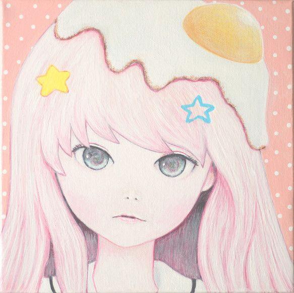 「Happy☆Fried Egg」2014200 mm x 200 mm x 37 mmAcrylic On CanvasKaoru Hasegawa|ハンドメイド、手作り、手仕事品の通販・販売・購入ならCreema。