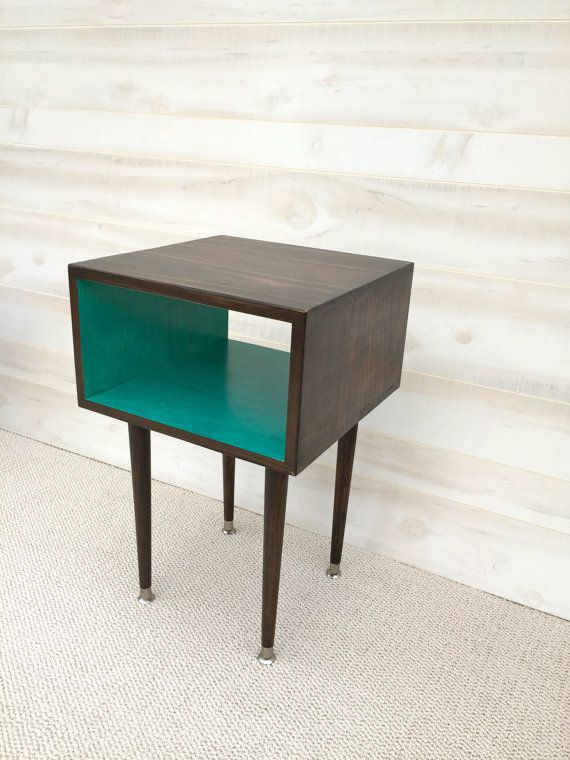 The Side Table Mid Century Modern Side Table Chocolate And TEAL Furniture  Midcentury Bed Side Table