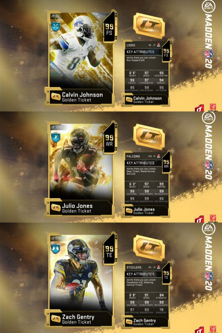 Madden 20 Golden Tickets Week 3 J Jones Z Gentry And Fs C Johnson In 2020 Golden Ticket Calvin Johnson Madden