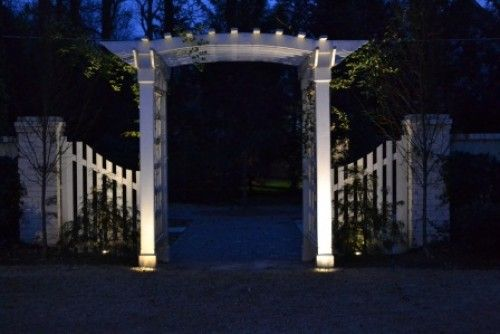 Garden Entrance Fence And Pergola Lit With Low Voltage Lighting Http