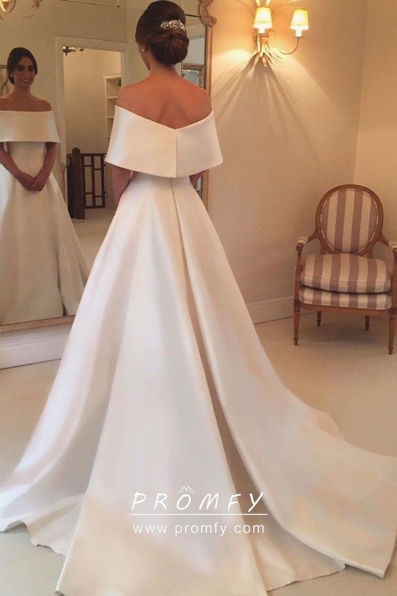 Elegant Plain Satin Off Shoulder Wedding Ball Gown Plain Wedding