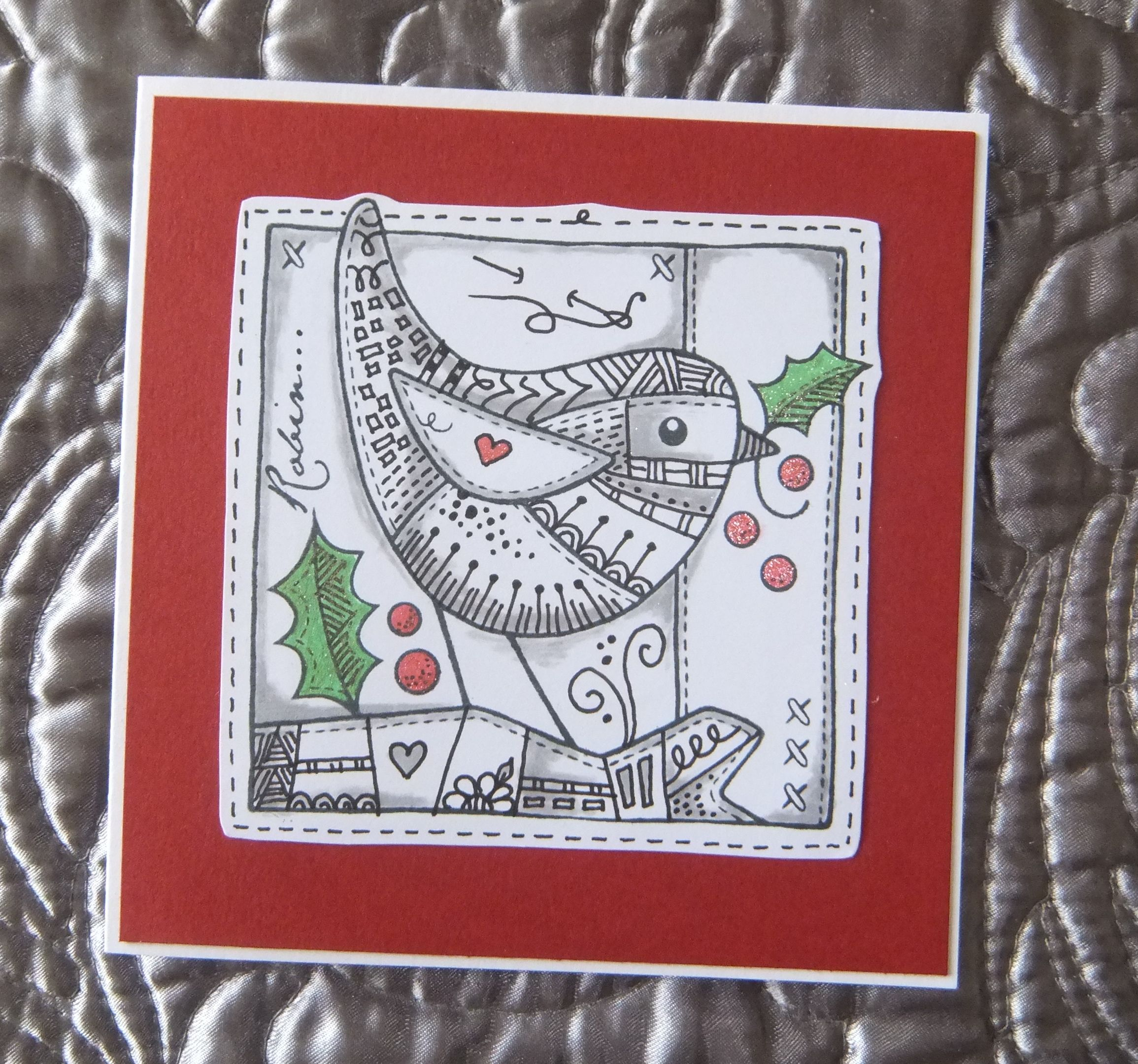 Woodware patchwork robin zentangled thanks to francois read