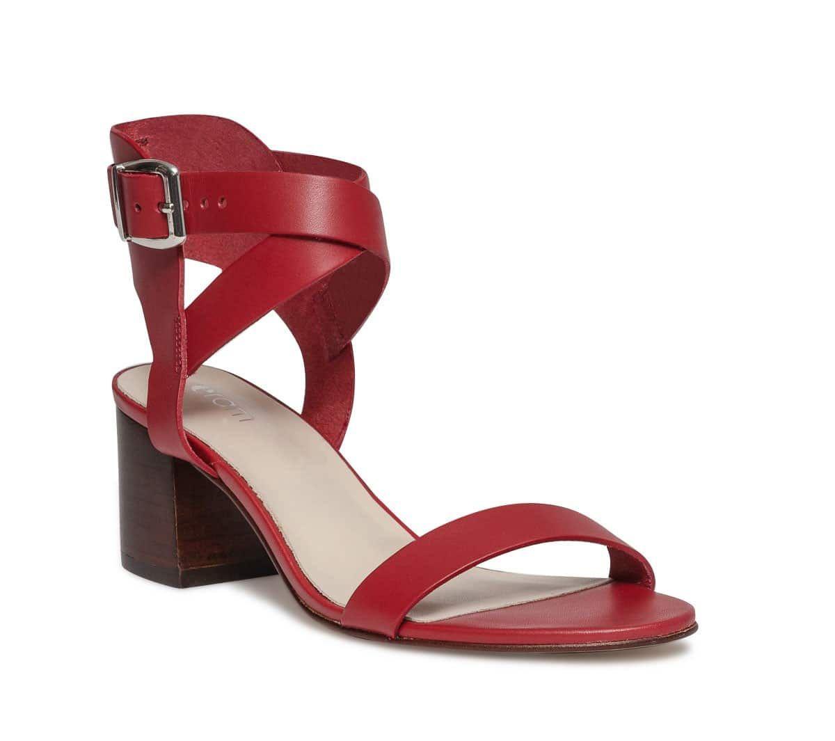 Sandale cuir rouge à bride croisée - Sandales talon - Chaussures femme