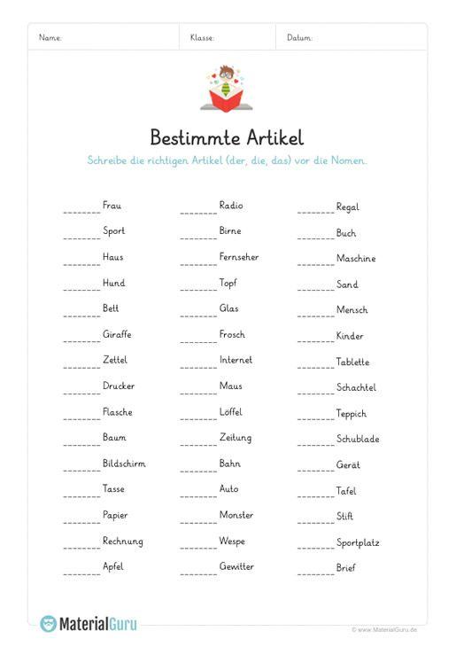 ein kostenloses arbeitsblatt zum thema artikel auf dem die sch ler die bestimmten artikel der. Black Bedroom Furniture Sets. Home Design Ideas