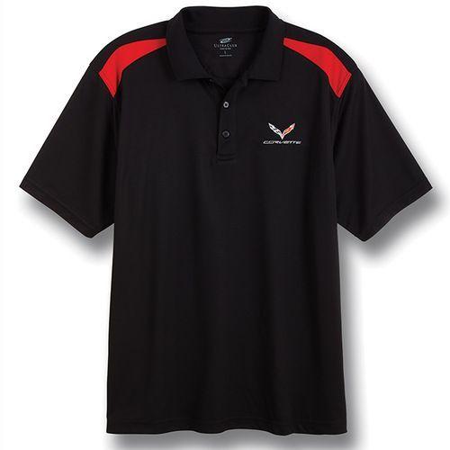 C7 Corvette Black Red Color Block Polo Shirt Red Polo Shirt Black And Red Polo Shirt
