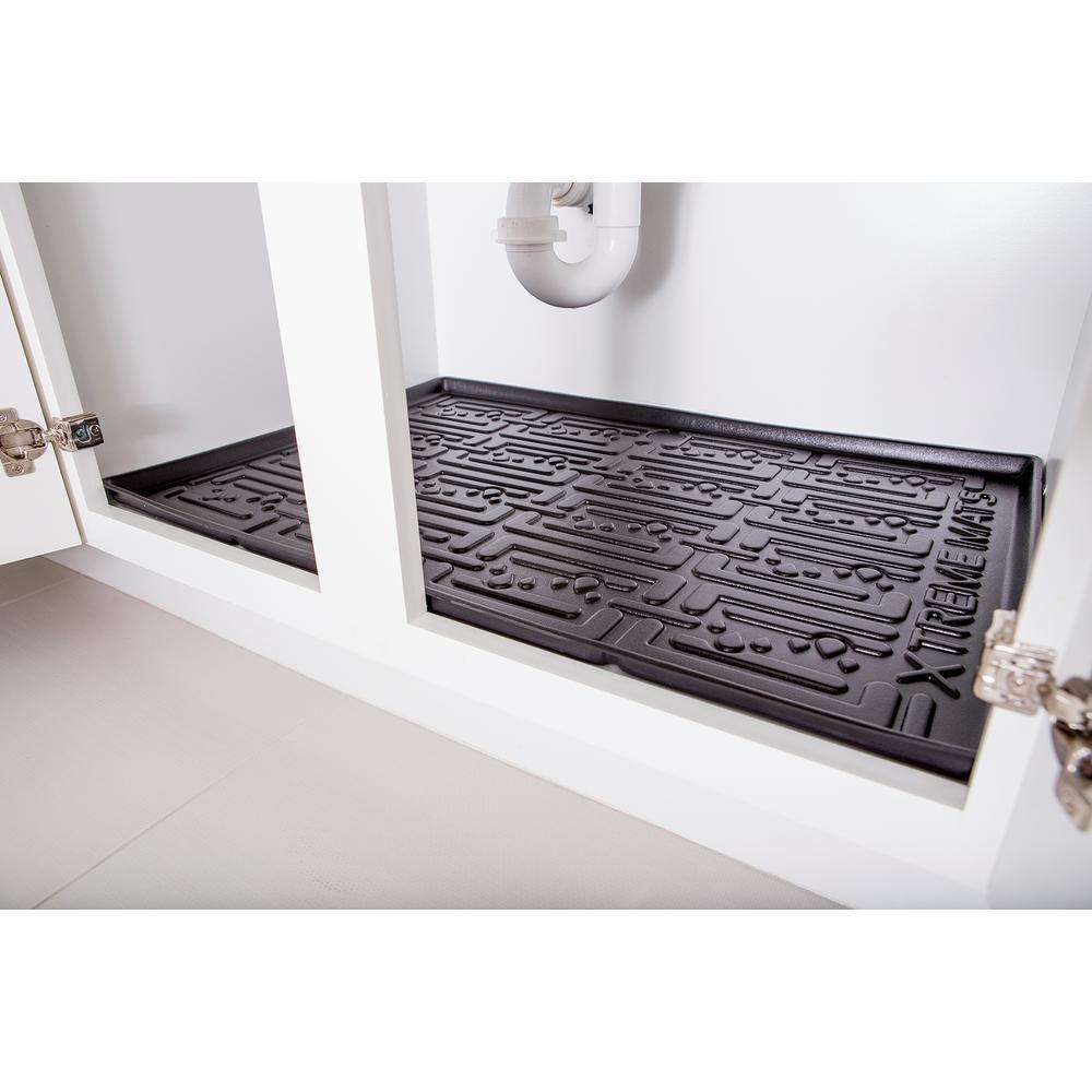 Black Kitchen Depth Under Sink Cabinet Mat Drip Tray Shelf Liner 33 3 8 In X 21 5 8 In Under Kitchen Sinks Kitchen Cabinet Liners Kitchen Shelf Liner