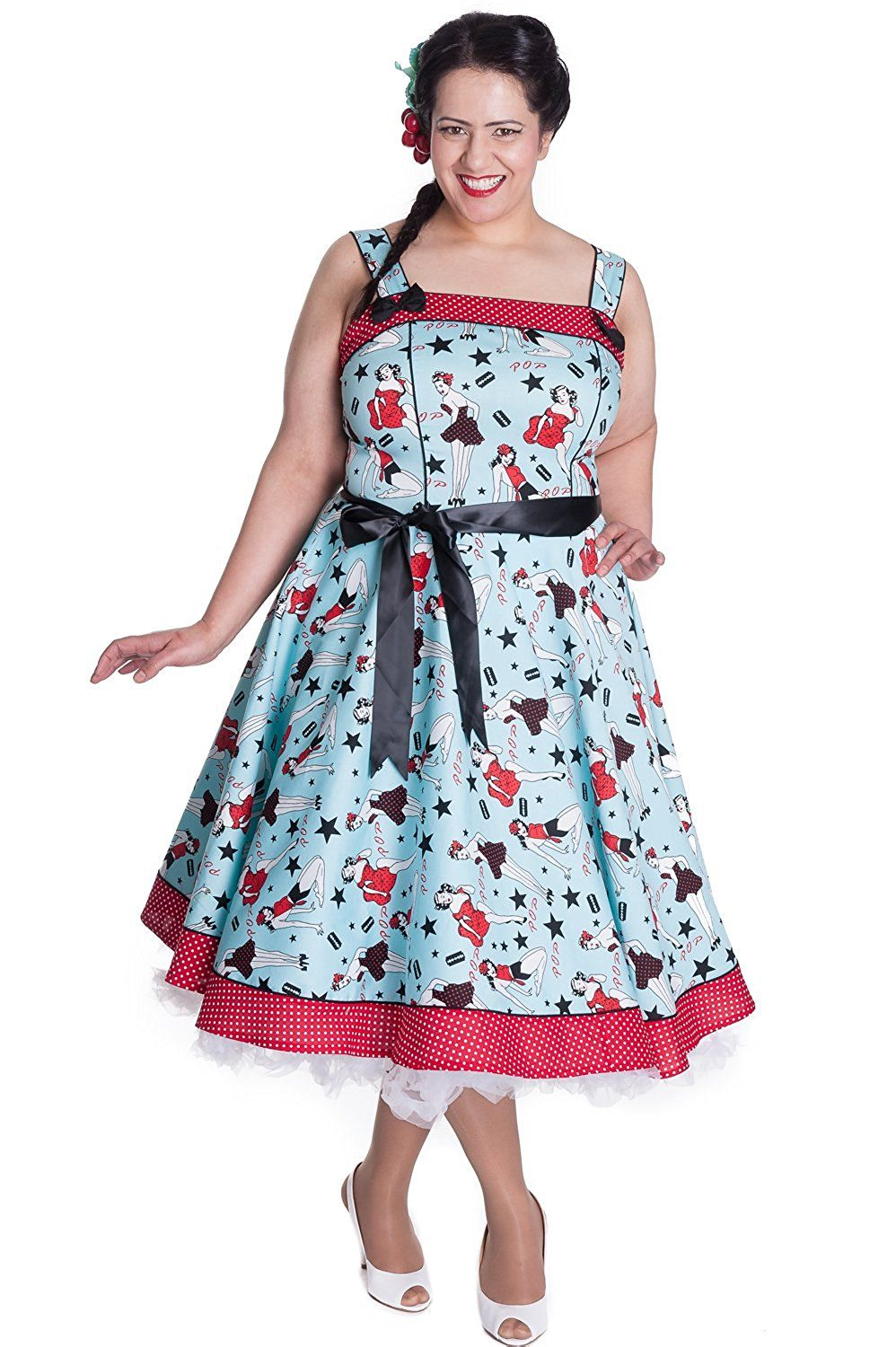 Plus Size Hell Bunny Gothic Steampunk Vintage 50s Circle Swing Dress Rockabilly