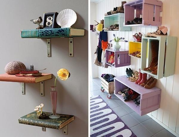 Repisas hechas de libros y cajones de frutas repisas - Cajones de madera para frutas ...