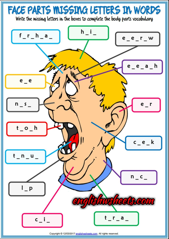 Face Parts Esl Printable Missing Letters in Words Worksheets For ...