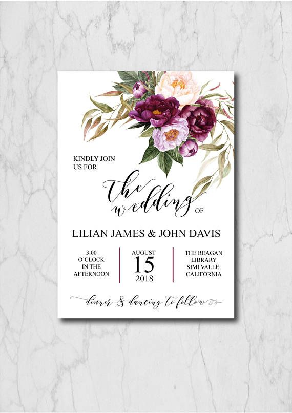 Boho Chic Wedding Invitation Suite Template, Peony Wedding ...