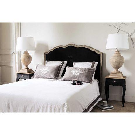 Linen 140cm Headboard In Black Ombelline | Maisons Du Monde