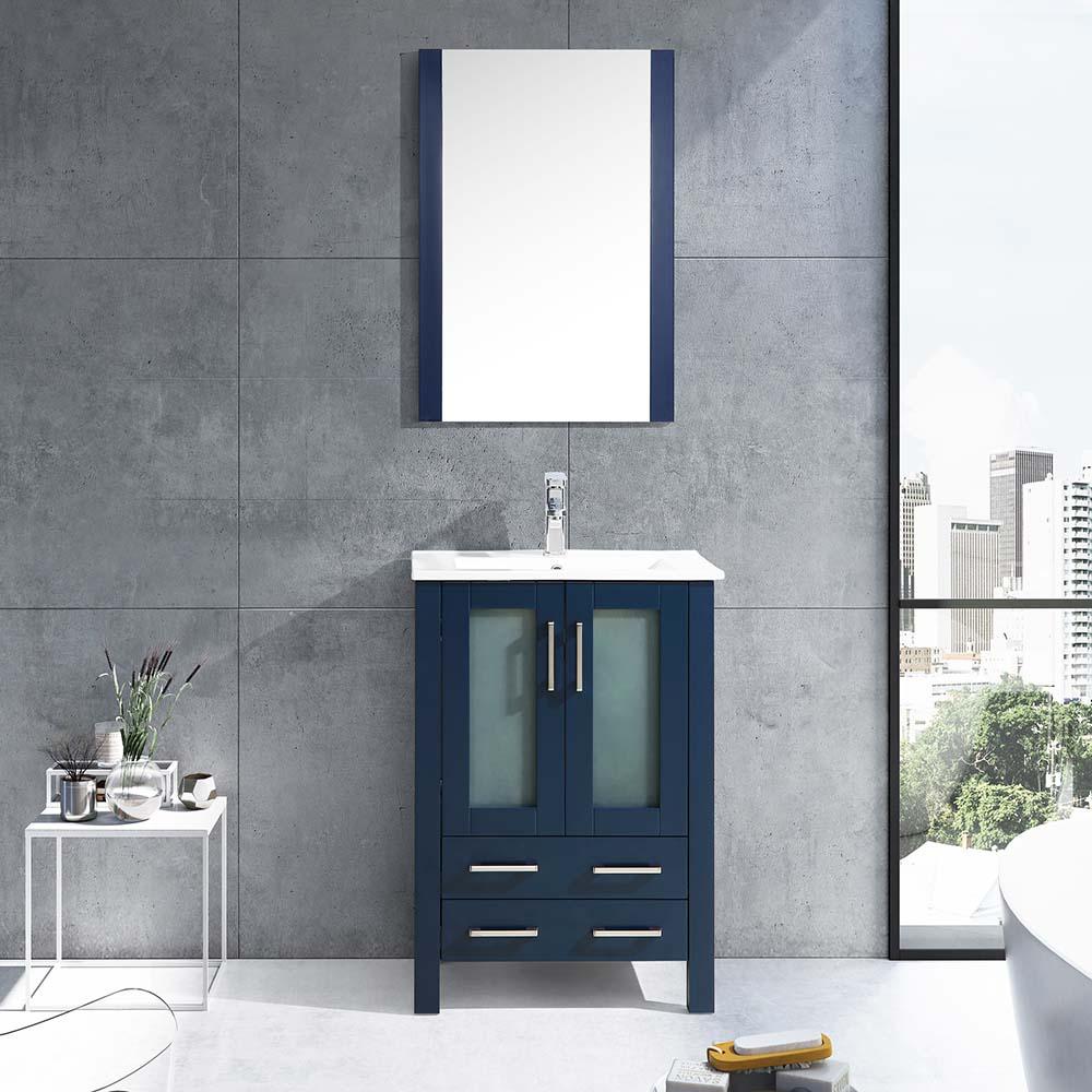 Lexora Volez 24 Bathroom Vanity Color Navy Blue With Mirror Blue Bathroom Vanity Bathroom Vanity Navy Blue Bathrooms