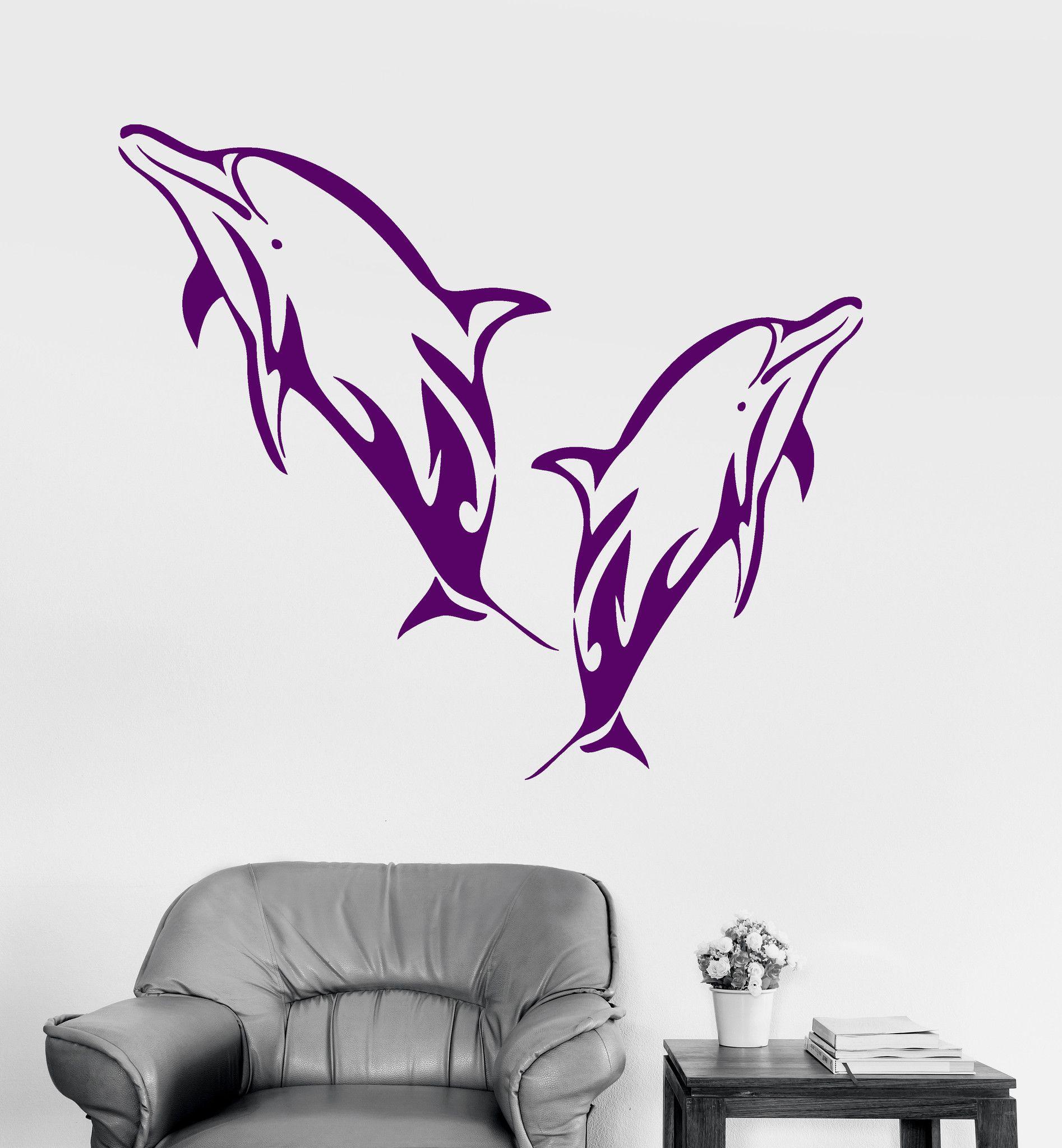 Vinyl Wall Decal Dolphins Marine Decor Bathroom Art Ocean Stickers ...