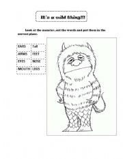 English worksheet: monsters- where the wild things are