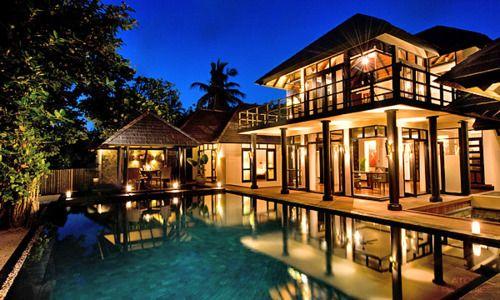 House, Lights, Luxury, Night, Palms