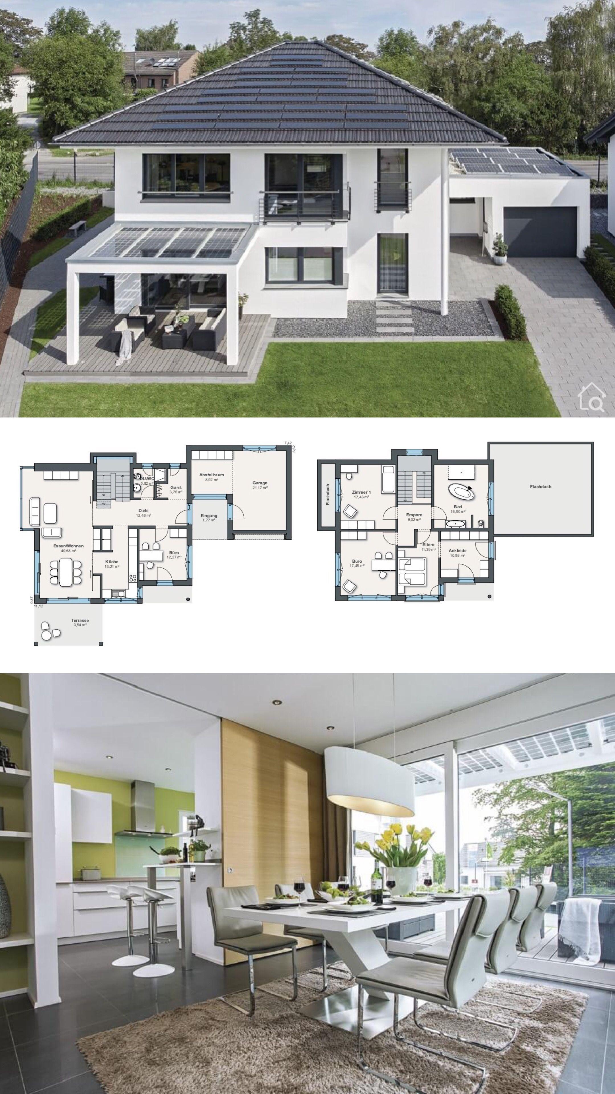 Modernes Einfamilienhaus Grundriss Mit Garage Klassischem Walmdach 5 Zimmer 180 Qm Gross 3 Kinderzimmer Buro Architektur Haus Design Weber Haus Haus Plane
