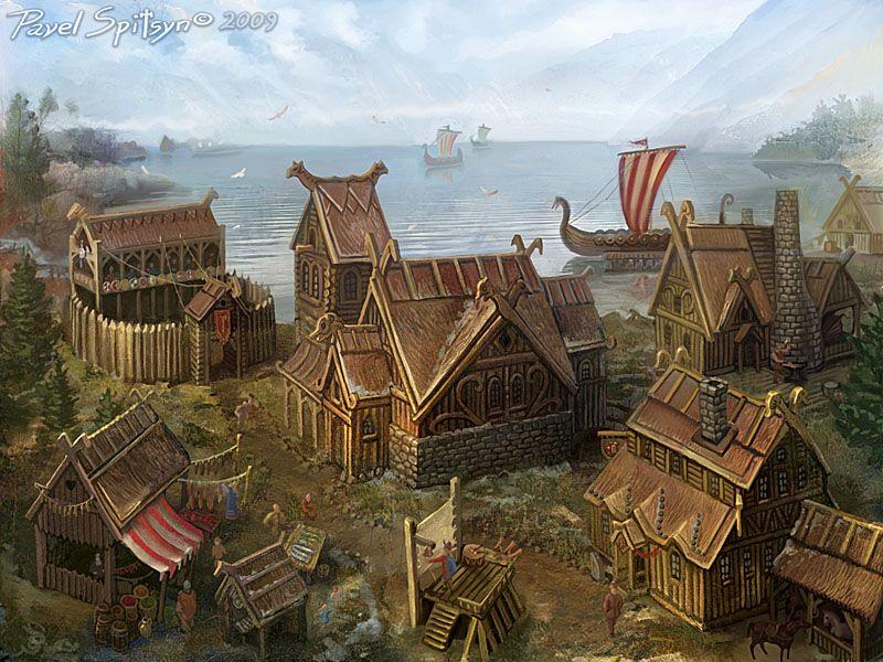 Location Northern Village By Cg Zander On Deviantart Fantasy Landscape Viking Village Fantasy Town