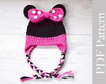 Minnie Mouse Hat, Crochet Baby Girl Hat, Minne Mouse Earflap