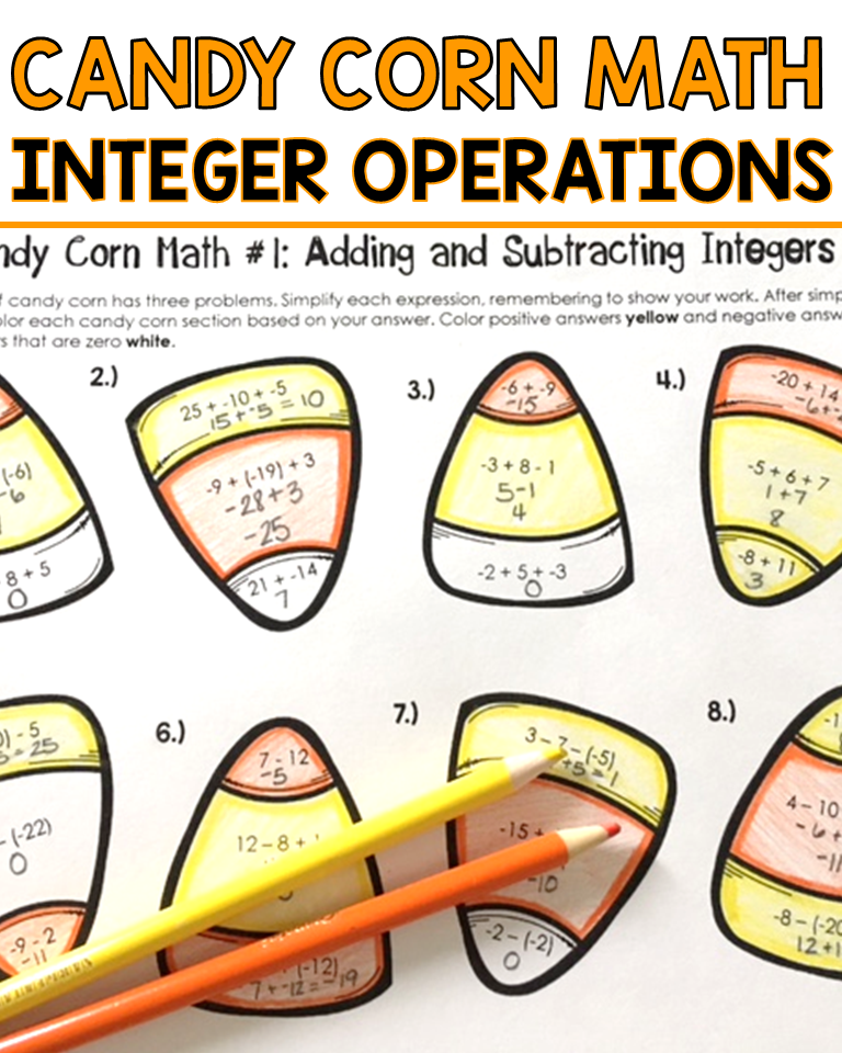 Your Middle School Students Will Have Fun With This Print And Go Integer Operation Practice Worksheet Pack This Cand Integer Operations Integers Math Integers
