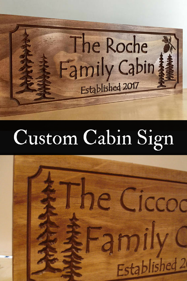 Wooden carved lake house cottage rustic cabin welcome signs pine tree pine cone wood carved sign carved address plaque outdoor wood sign etsy ad