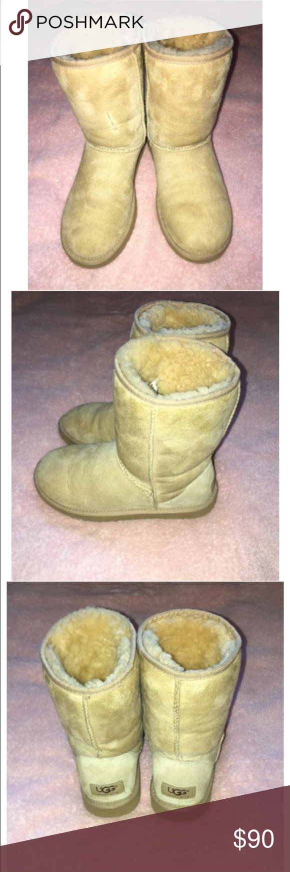 UGG Booties In good condition UGG Australia beige/tan booties. Size 7 Woman UGG Shoes Winter & Rain Boots
