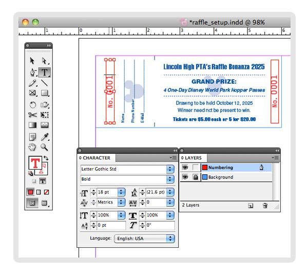 Tutorial: Creating Numbered Raffle Tickets with InDesign | The Mines ...