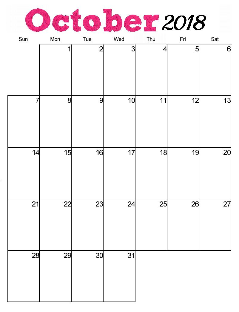 Free Printable October 2018 Vertical Calendar Calendar